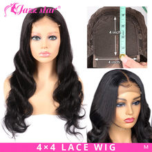 Brazilian 4x4 Lace Closure Wig Body Wave Wig Human Hair Wigs Pre-Plucked with Baby Hair Non-Remy Jazz Star Hair 150% Density(China)
