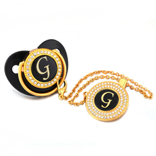 Black Name Initials Letter G Bling Baby Pacifier and Chain Infant Silicone Nipple Dummy