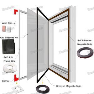 Image 3 - Ayarlanabilir DIY özelleştirmek manyetik pencere teli windows motosikletler için çıkarılabilir yıkanabilir görünmez sinek sivrisinek teli Net örgü