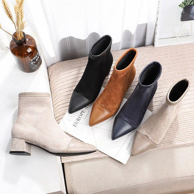 (Brak w magazynie!) Buty damskie buty do kostek szpilki welurowe z ostrym czubkiem na kwadratowym obcasie zimowe pluszowe botki kobieta Slip On Martin buty