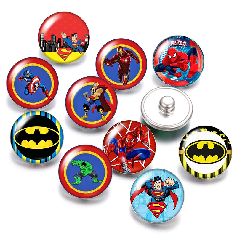 DB0481 Super Heroes Superman Ironman 18mm Snap Buttons 10pcs Mixed Round Photo Glass Cabochon Style For Snap Button Jewelry