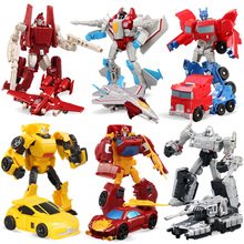 SLPF Transformation 4 Cars Robots Toys PVC Action Figures Toys Deformation Robot Model Toy  Boy Birthday Gift For Children C25 19cm height transformation deformation robot toy action figures toys with original box jj616c