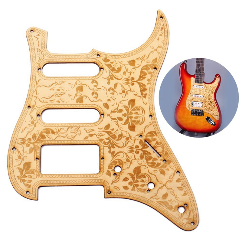 Ssh Wooden Guitar Pickguard Maple Wood With Decorative Flower Pattern For Fender St Electric Guitars