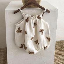 2021 New Baby Girl Sleeveless Sling Bodysuit Bear Pattern Overalls For Boys Kids Jumpsuit Cute Bear Print Baby Onesie 0-24M