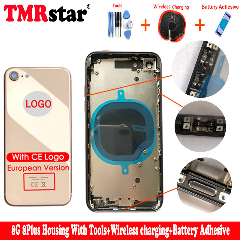 For Iphone 8 8g 8 Plus Back Middle Frame Chassis Full Housing Assembly Battery Cover Body CE Logo Wireless Charging