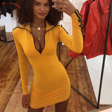 InstaHot Yellow Stripe Side Dress Women Long Sleeve Zippers Turn-Down Collar Slim Fitted Autumn Sexy Casual Sporting Mini