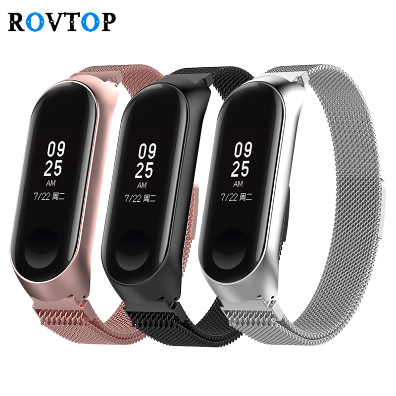 Fashion Metal Strap For Xiaomi Mi Band 3 4 Stainless Steel Bracelet For MiBand 3 4 Wristbands Replacement Strap For Mi Band 3