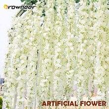 12 Pcs Wisteria Artificial Fiower Bouquet Plastic Silk Hanging Flowers White Hom
