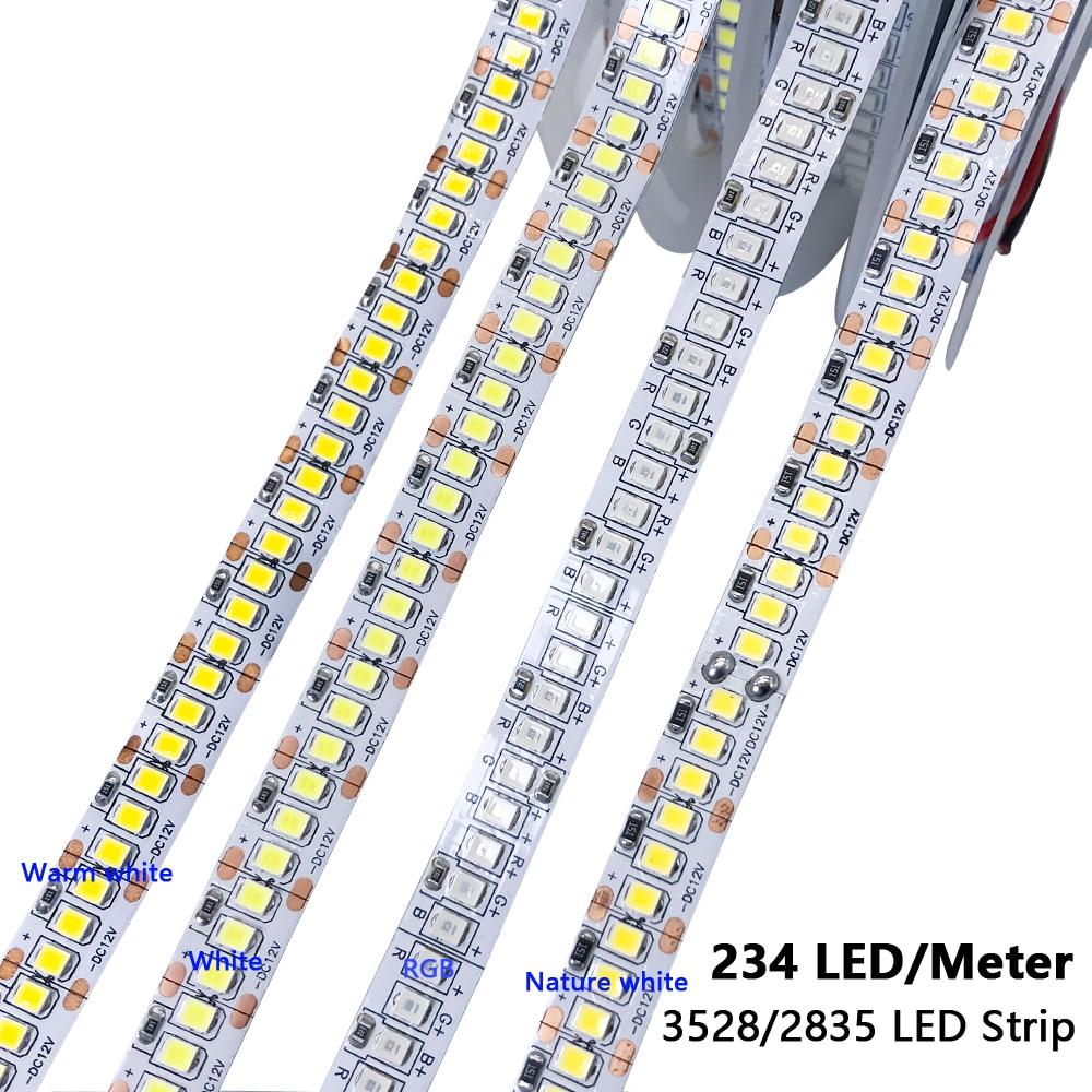 5 12 24 v volt led tira luz rgb pc smd 2835 branco quente impermeável 5v 12v 24 v led tira fita lâmpada luz tira decoração tv