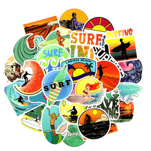 Image 4 - 10/30/50 pcs/pack INS Fun Beach Surfing Stickers For Laptop Luggage Skateboard Guitar Motocycle Doodle Decor Surfboard Stickers