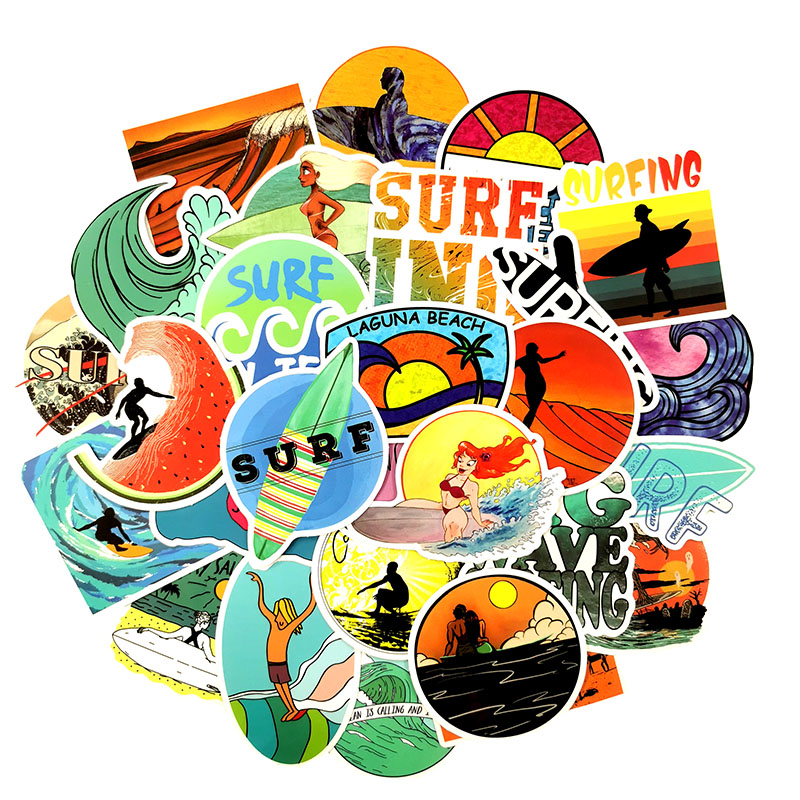 Image 4 - 50Pcs/Set INS Fun Beach Surfing Stickers For Laptop Luggage Skateboard Guitar Motocycle Doodle Decor Helmet Surfboard Stickers-in Stickers from Toys & Hobbies