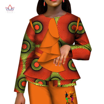 Casual African Women Clothes Print Tops and Pants Set Bazin Riche Traditional African Clothing 2 Pieces Pant Trousers Set WY6176