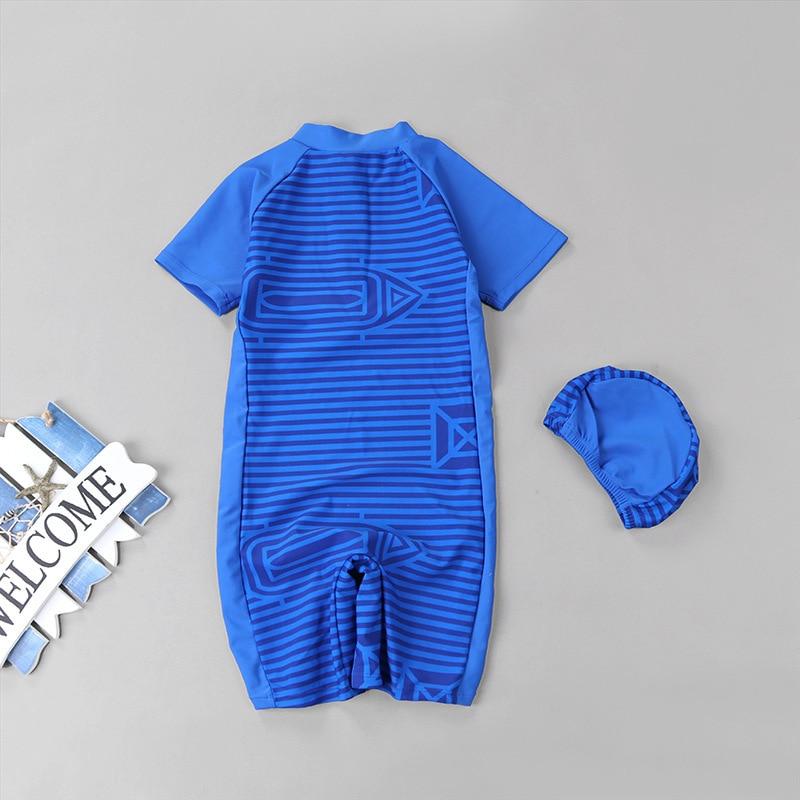 2019 Korean-style INS Boy CHILDREN'S Swimwear Children One-piece Stripes Boxer Sun-resistant Quick-Dry Hot Springs Swimwear