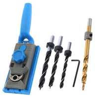 2 In 1 Pocket Hole Jig Kit Doweling Jig Adjustable Drill Guide 6 8 10 12 Mm With Handle Woodworking Tools