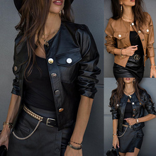 Spring and Autumn Jacket for Women Slim Short Leather Coat Pockets Fashion Long Sleeve Outwear Motorcycle Leather Solid Coat D30