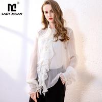 100% Pure Silk Women's Runway Shirts O Neck Long Sleeves Ruffles Fashion Elegant Shirt Blouse Tops