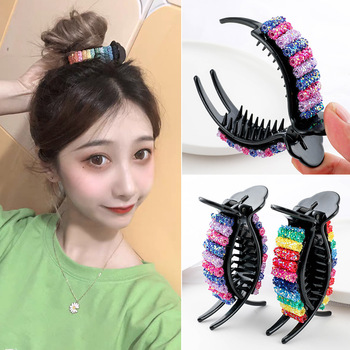 Korean Rainbow Hair Clips Big Crabs For Ponytail Bun Clamps Candy Color Hairpin Accessories Fashion Headdress Gifts