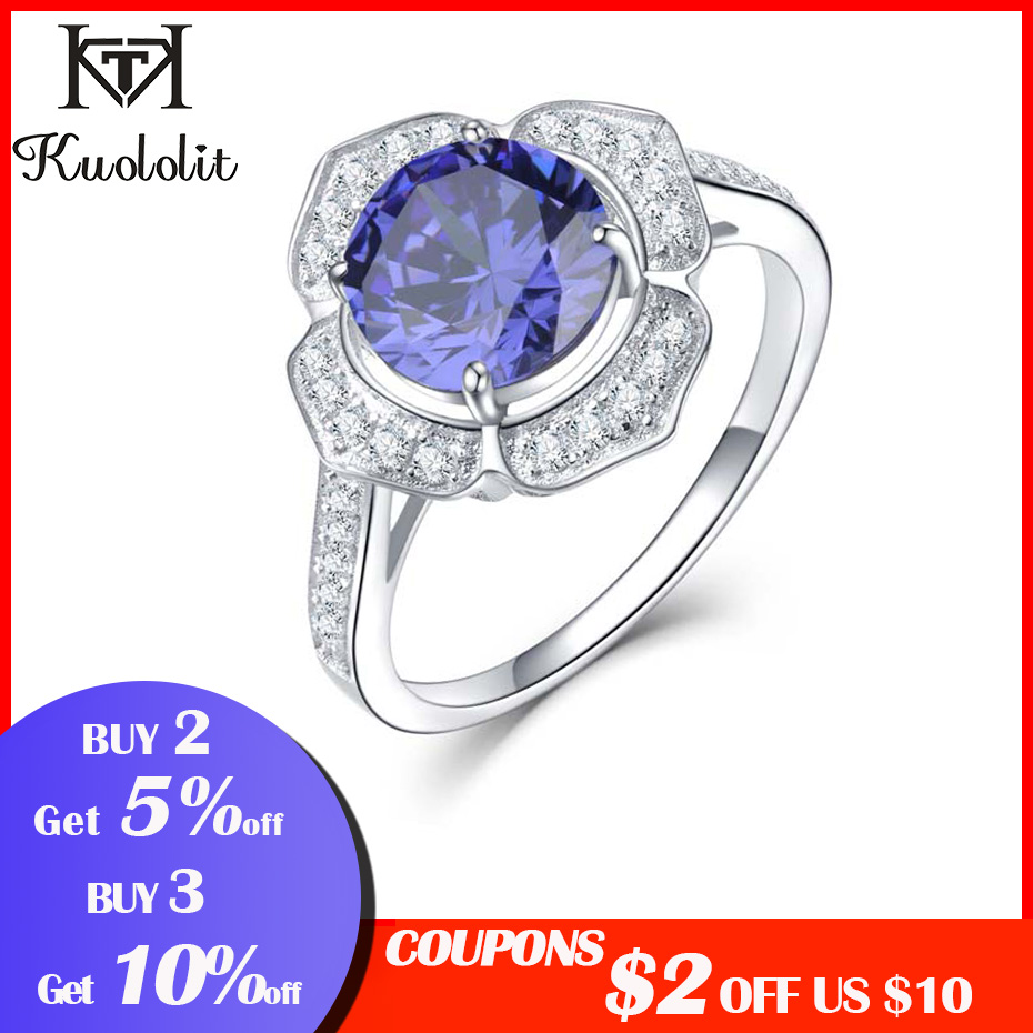 Image 2 - Kuololit Classic Tanzanite Ring Solid 925 Sterling Silver Rings For Women Brand Fine Jewelry Engagement Women GiftRings   -