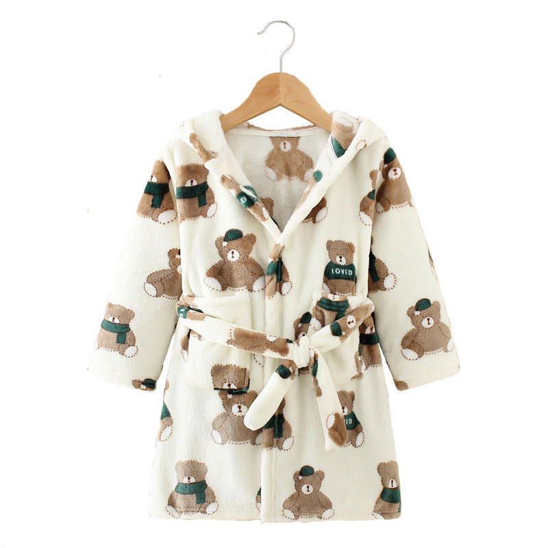 Long Sleeve Hooded Children's Bathrobe Cartoon Print Kids Robe Lovely Animal Boy Bath Robe Spring Autumn Girls Bathrobe