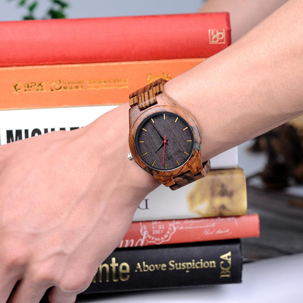Image 5 - Relogio masculino bobo pássaro relógio de madeira homem design especial artesanal relógios de pulso para ele com caixa de presentes de madeira oem dropshippingRelógios de quartzo   -