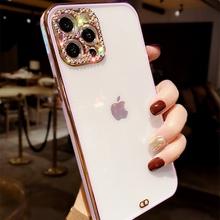 Poszycie przezroczysty obiektyw aparat brokat diament miękki futerał na telefon dla iphone 12 Pro Max MiNi 11 Pro XR X XS 7 8 plus SE 20 okładka tanie tanio APPLE CN (pochodzenie) Częściowo przysłonięte etui Zwykły Silicone plating Plain lens diamond Non-slip Shockproof Case For iPhone 12 Pro Max 12MiNi 7 8 Plus X