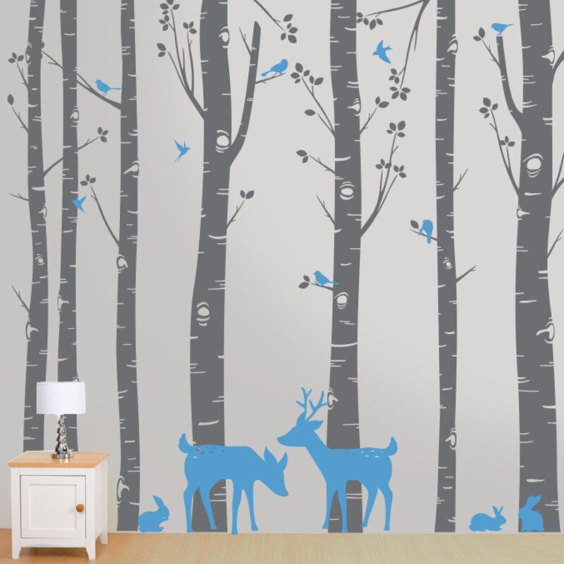 Деревья с оленями и птицами настенные наклейки детские мальчики украшение комнаты девочки красота домашний декор модный постер стикер на с...