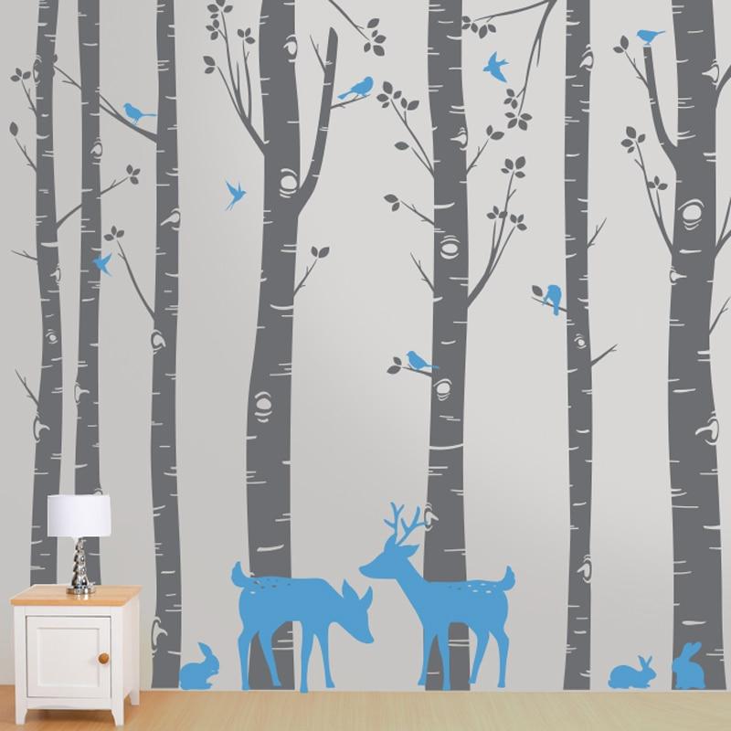 Arbres avec cerf et oiseaux Sticker mural enfants garçons filles chambre décoration beauté décor maison mode affiche Stickers muraux LY1862