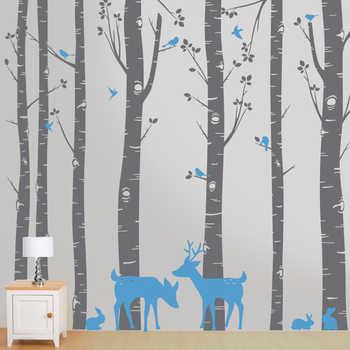 Bäume mit Deer und Vögel Wand Aufkleber Kinder Jungen Mädchen Zimmer Dekoration Schönheit Home Decor Fashion Poster Wand Aufkleber LY1862