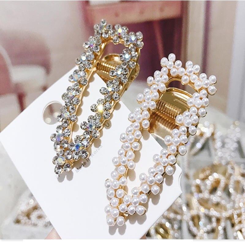 Korea Shiny Crystal Rhinestones Hairpins Geometric Waterdrop Imitation Pearl Hair Clips Hair Accessories
