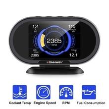 자동차 HUD 온보드 컴퓨터 자동차 디지털 디스플레이 속도 연료 소비 온도 게이지 과속 경고 OBD2 스캐너