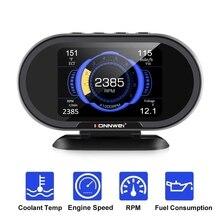 Pantalla Digital HUD para coche, medidor de temperatura de consumo de combustible y velocidad, advertencia de exceso, escáner OBD2