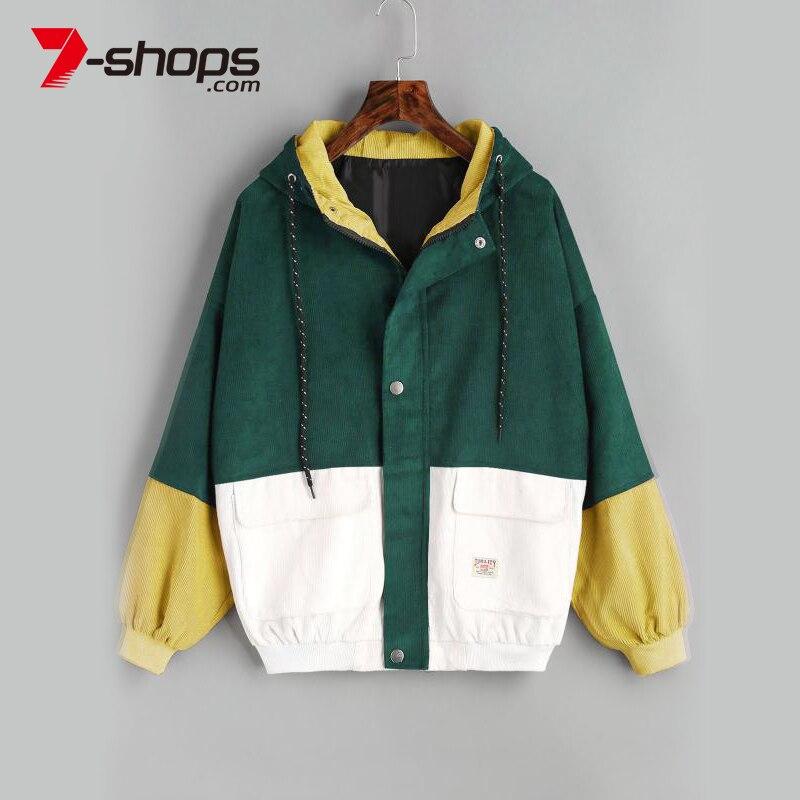 AECU11   jacket   women Warm Block Hooded Corduroy   Jacket   Drawstring Hit Color Patched Pocket Thick   Basic   Women Coat Harajuku