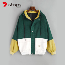 AECU11 jacket women Warm Block Hooded Corduroy Jacket Drawst