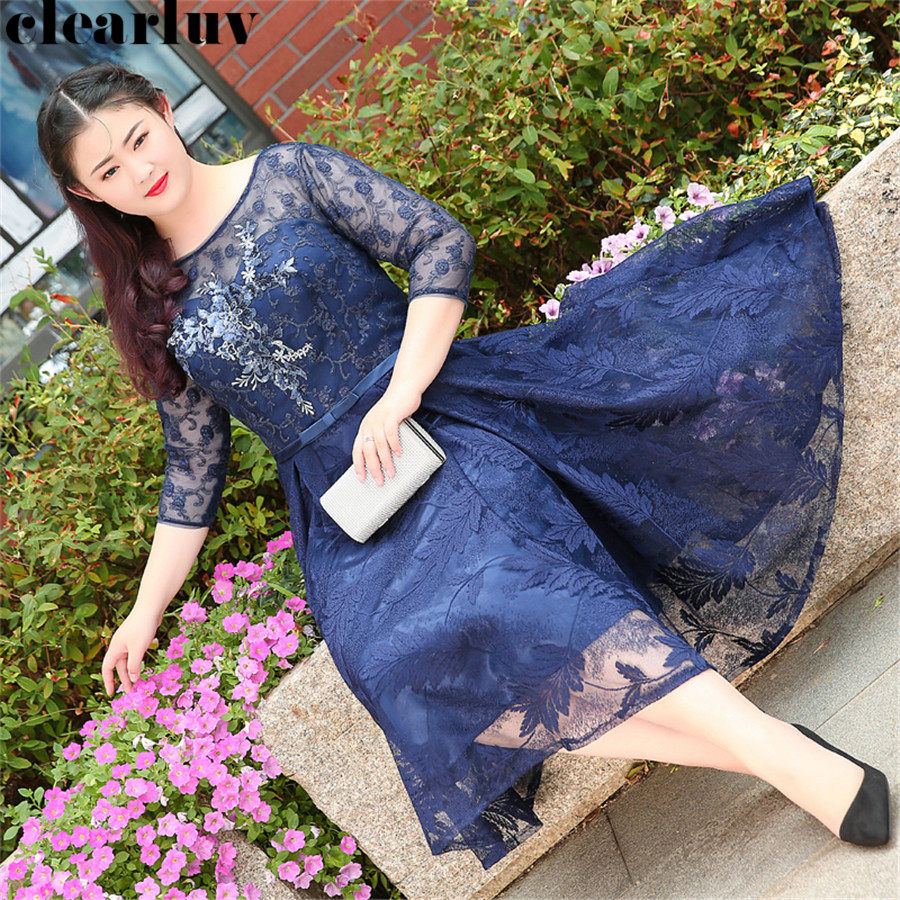 Floral Print Prom Dresses 2019 Plus Size O-Neck Prom Gowns T339 New A-line Vestidos De Gala Dresses Navy Blue Women Party Night