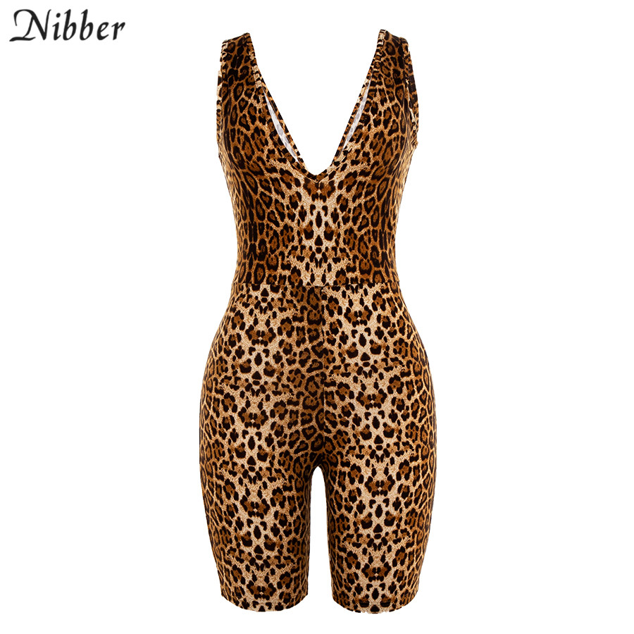 Nibber 2019 Autumn new Leopard playsuits women summer stretch Slim short V neck jumpsuits casual Basic jogging Active Wear mujer