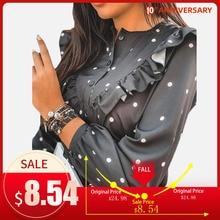 2020 Ruffle Polka Dot Print Women's Blouse O-neck Buttons Lo