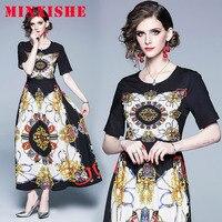 Summer Women Dress 2019 Maxi Short Sleeve O Neck tshirt Print Sexy Plus size elegant Vintage Party Office Casual Ladies Dresses