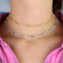 Красивое украшение, длинная квадратная цепочка, ожерелье, Трендовое CZ Кристалл, Женские Ювелирные изделия, милые Полые прямоугольные цепочки, колье, ожерелье