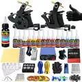 Permanent Makeup Machine Tattoo Beginner Kits &2 Pro Machine Guns Tattoo Kit Power Supply Needle Grips 14 Ink Color Makeup Set