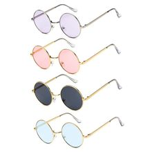 Round Metal Frame Retro Sun Glasses Pink Women Alloy Mirror Men Fashion Eyewear