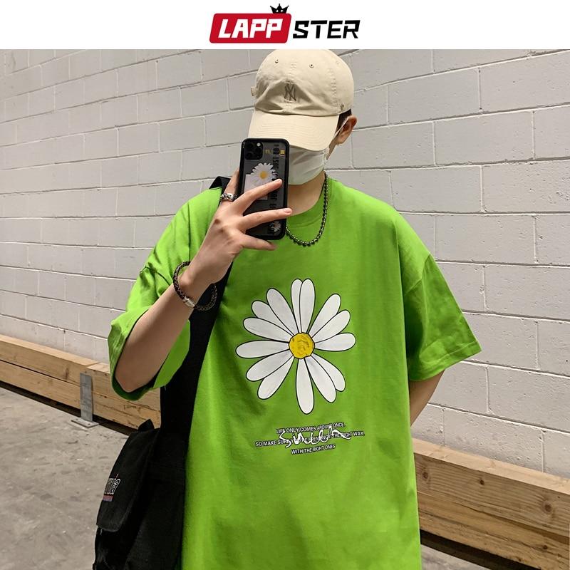 LAPPSTER Men Summer Dirty Flower Harajuku T-shirts 2020 Man Casual Japanese Streetwear White Tshirts Male Korean Cotton Clothing 5