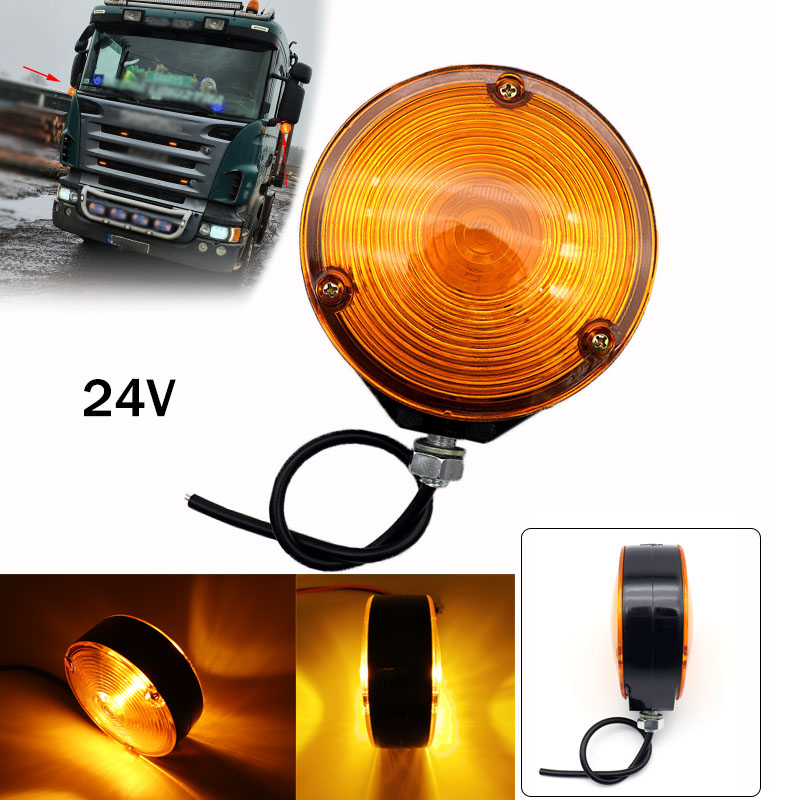 24V Universal Double Yellow Face Light Car Bulb Side Marker Light Signal Lamp For Automobiles Truck Trailer Lorry  Accessories