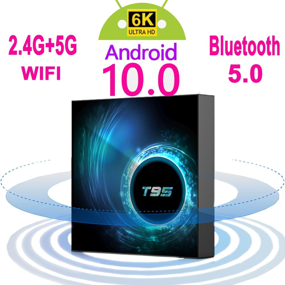 2020 последняя T95 Смарт ТВ приставка Android 10 6k 2,4g & 5g Wi-Fi Bluetooth 5,0 4g 16 ГБ, 32 ГБ, 64 ГБ, 4k 4 ядра компьютерной приставки к телевизору Media Player