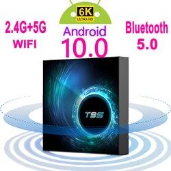 2020 Latest T95 Smart Tv Box Android 10 6k 2.4g & 5g Wifi Bluetooth 5.0 4g 16g 32gb 64gb 4k Quad Core Set-Top Box Media Player