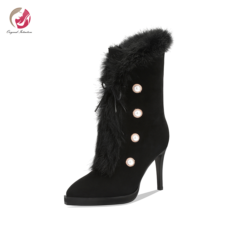 Intention originale élégant réel fourrure bout pointu mince talons hauts bottines femme perle boutons chaussures élégantes femme grande taille