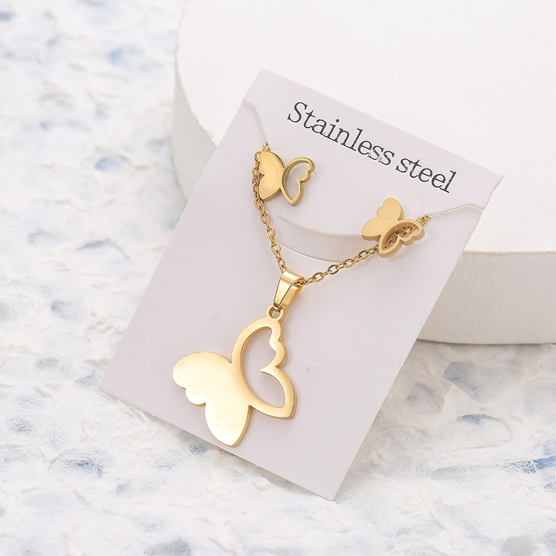 New Animal Flower Butterfly Stainless Steel Pendant Necklace Sets For Women Gold Color Chain Necklace Earrings Jewelry Gifts