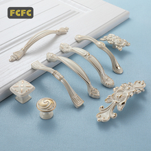 FCFC European Ivory White Handle Drawer Closet Gold Handle Cabinet Door Cabinet Invisible Door Handle Modern Pulls Hole Konb hot 10pcs stainless steel recessed invisible cup handle privacy hidden door locks cabinet pulls handle fire proof disk ring lock