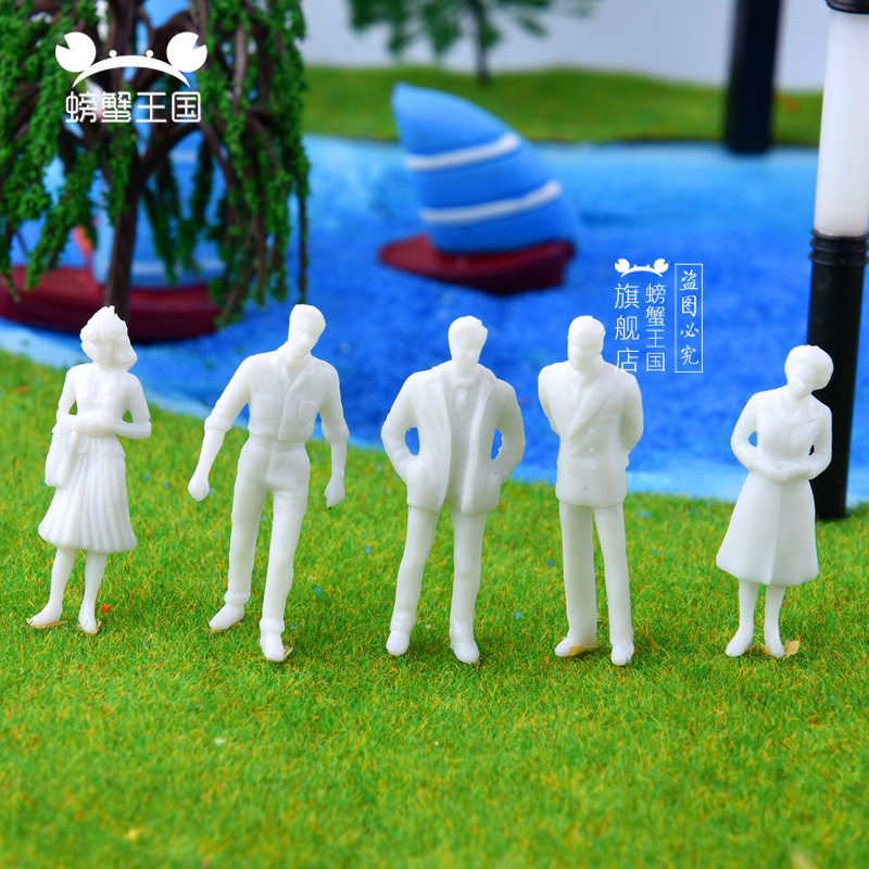 100pcs 1/100 scale white model people plastic unpainted figure for DIY Architecture train layout image