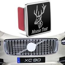 Für VOLVO XC70 XC80 XC90 S60 S70 S80 S90 Moose Test Elch Abzeichen Emblem Aufkleber 3D Metall Auto Front Grill kofferraum Auto Styling