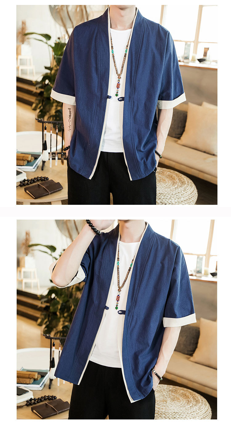 Sinicism Store Men Patchwork Shirt Streetwear Short Sleeve 19 Summer Harajuku Vintage Kimono Shirts Black Fashion Open Stitch 24